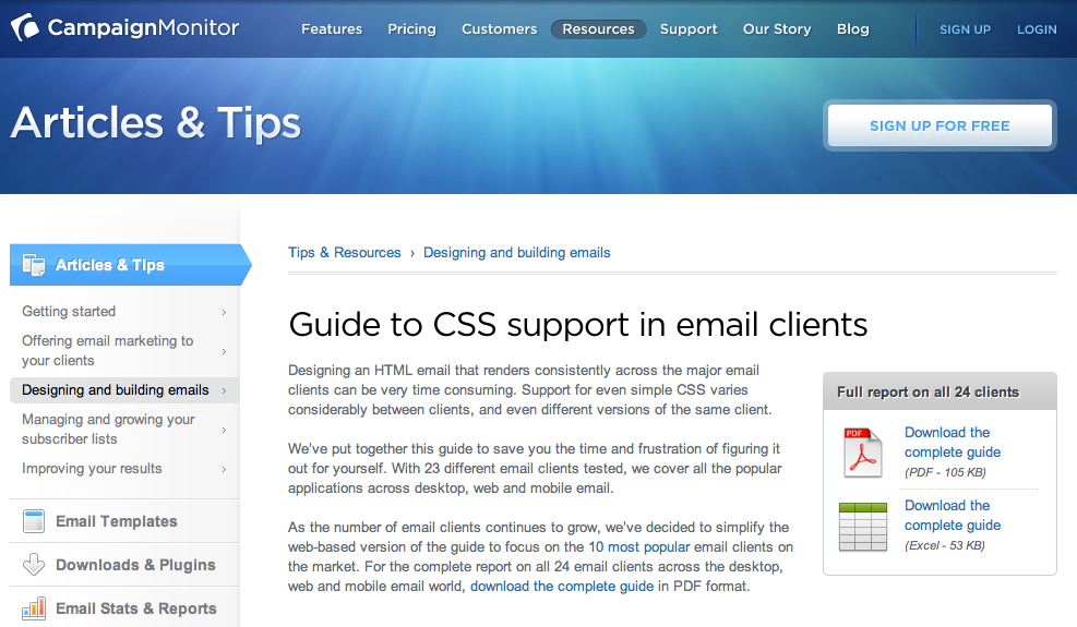 Guide toCSS support in email clients